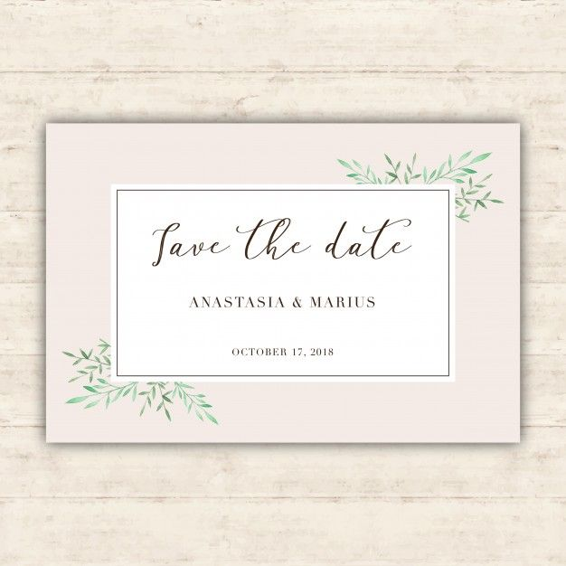 Minimalist wedding card with watercolor leaves free vector wedding minimalist wedding card with watercolor leaves free vector stopboris Images