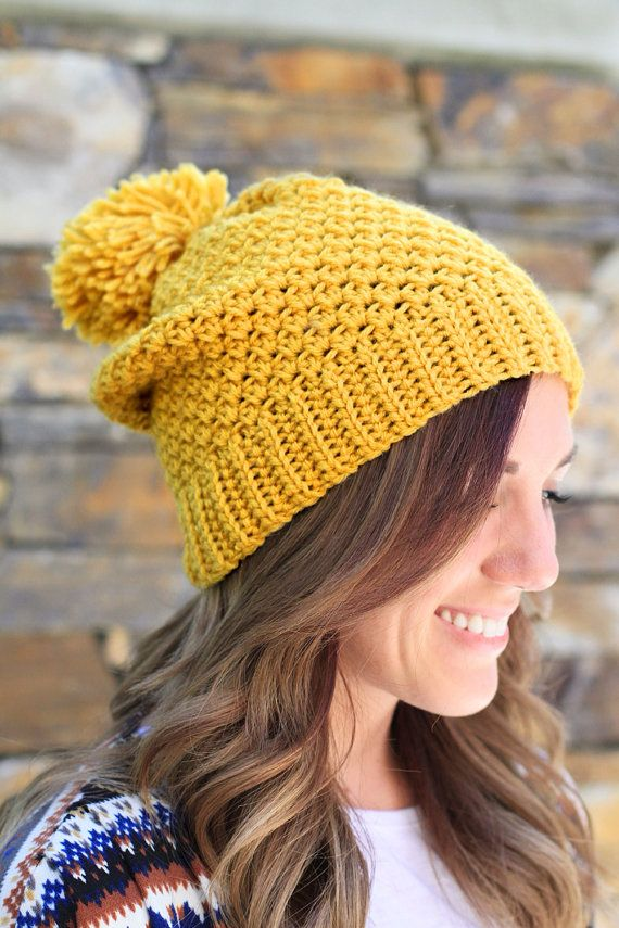 ea2cd656483 CROCHET SLOUCHY BEANIE - Mustard Yellow