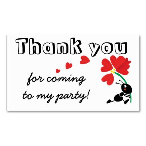 thank you for coming to my party business card template cutouts - thank you card template
