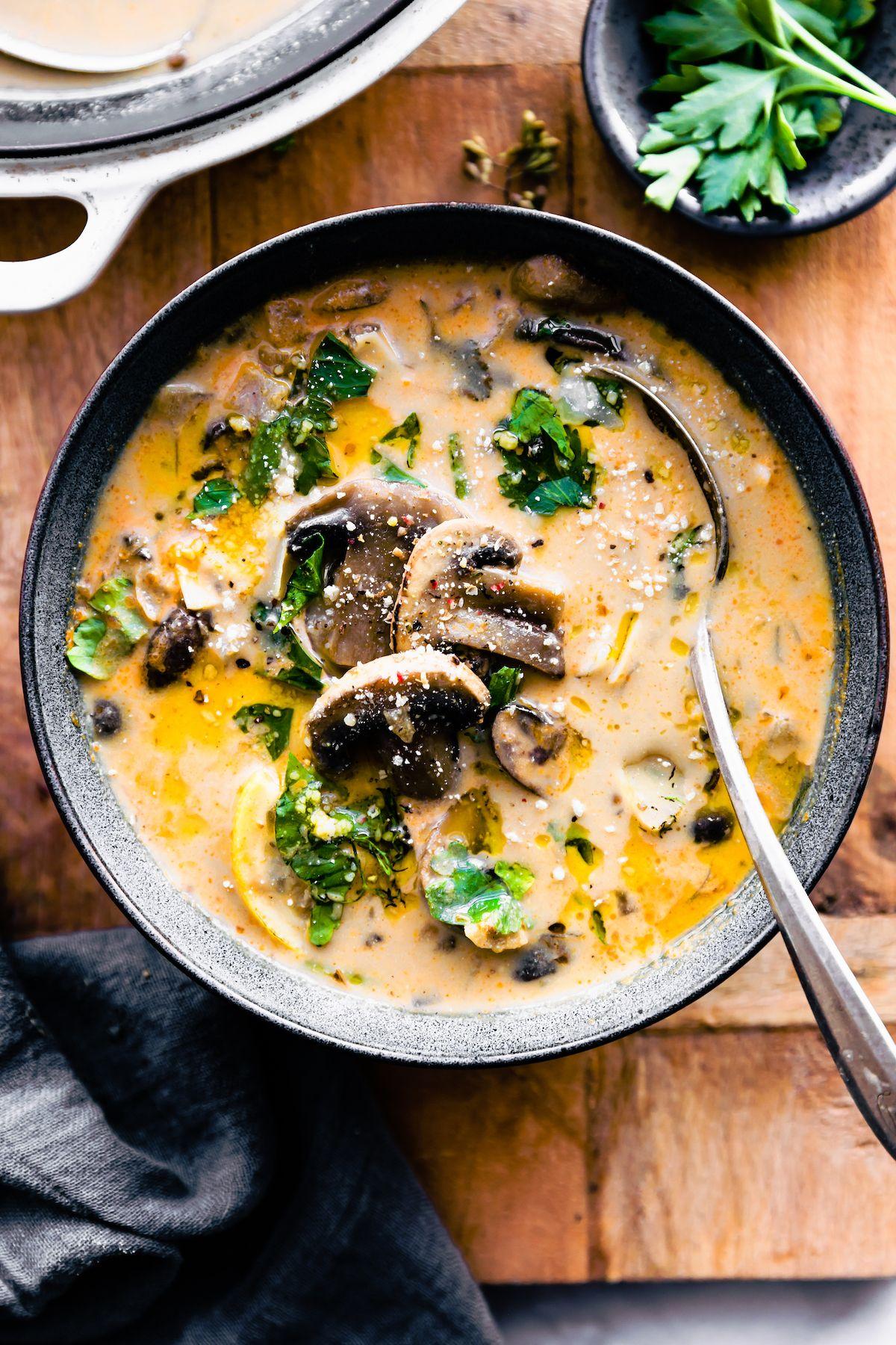 Creamy hungarian vegan mushroom soup dairy free recipe