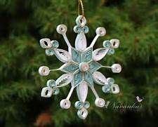 Paper Quilled Snowflake Ornament in White and Blue with a