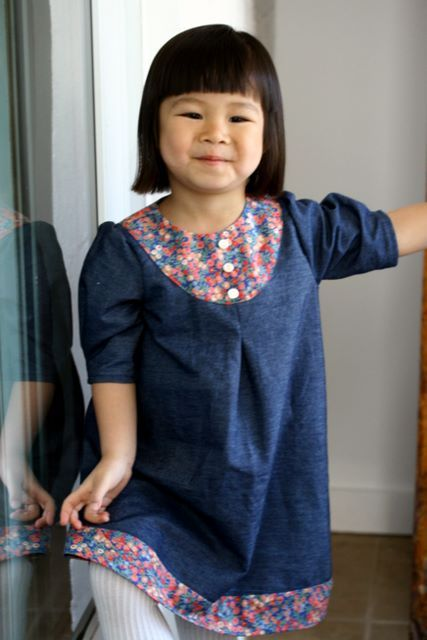 9baf6ef2f9 Oliver + S playdate dress in lightweight denim and accented in gorgeous  Liberty lawn