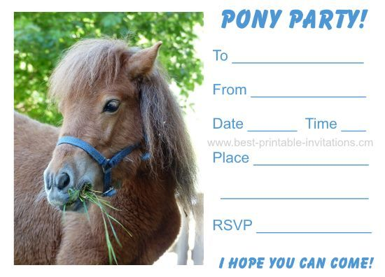 Pony Party Invitations Free printable kids party invites from – Free Printable Party Invitations for Kids Birthday Parties