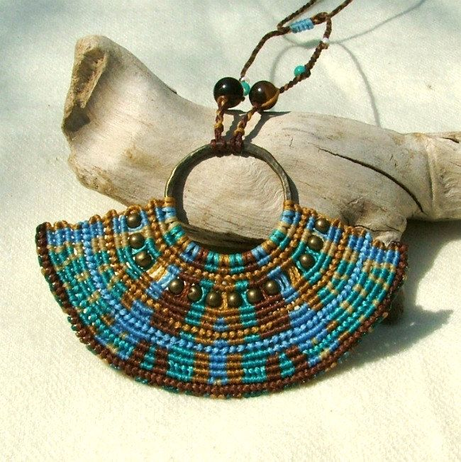 Beaded macrame necklace free spirit blue and brown with tiger eye beads. $48.00, via Etsy.