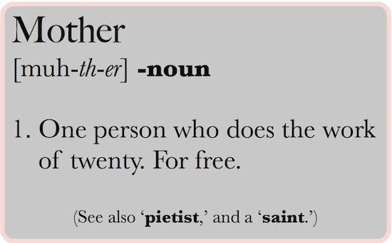 Great Definition Of A Mother   A Person Who Does The Work Of Twenty. For Free