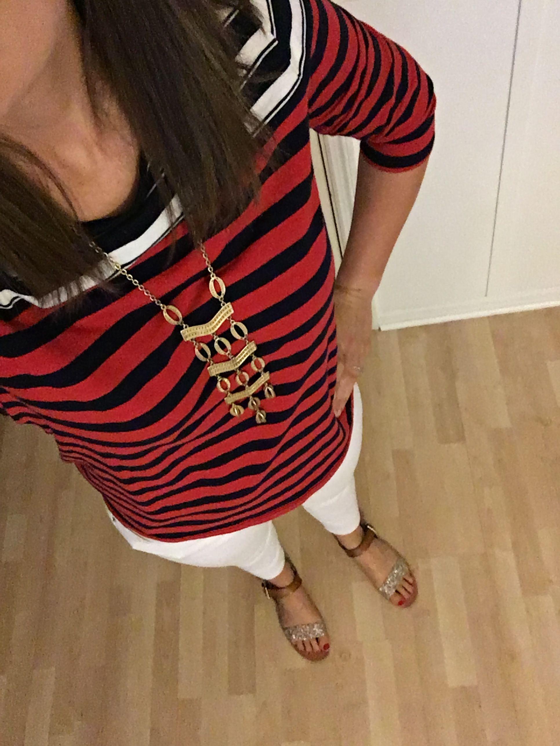 Striped Breton top, white denim, Stella and Dot necklace, gold sandals