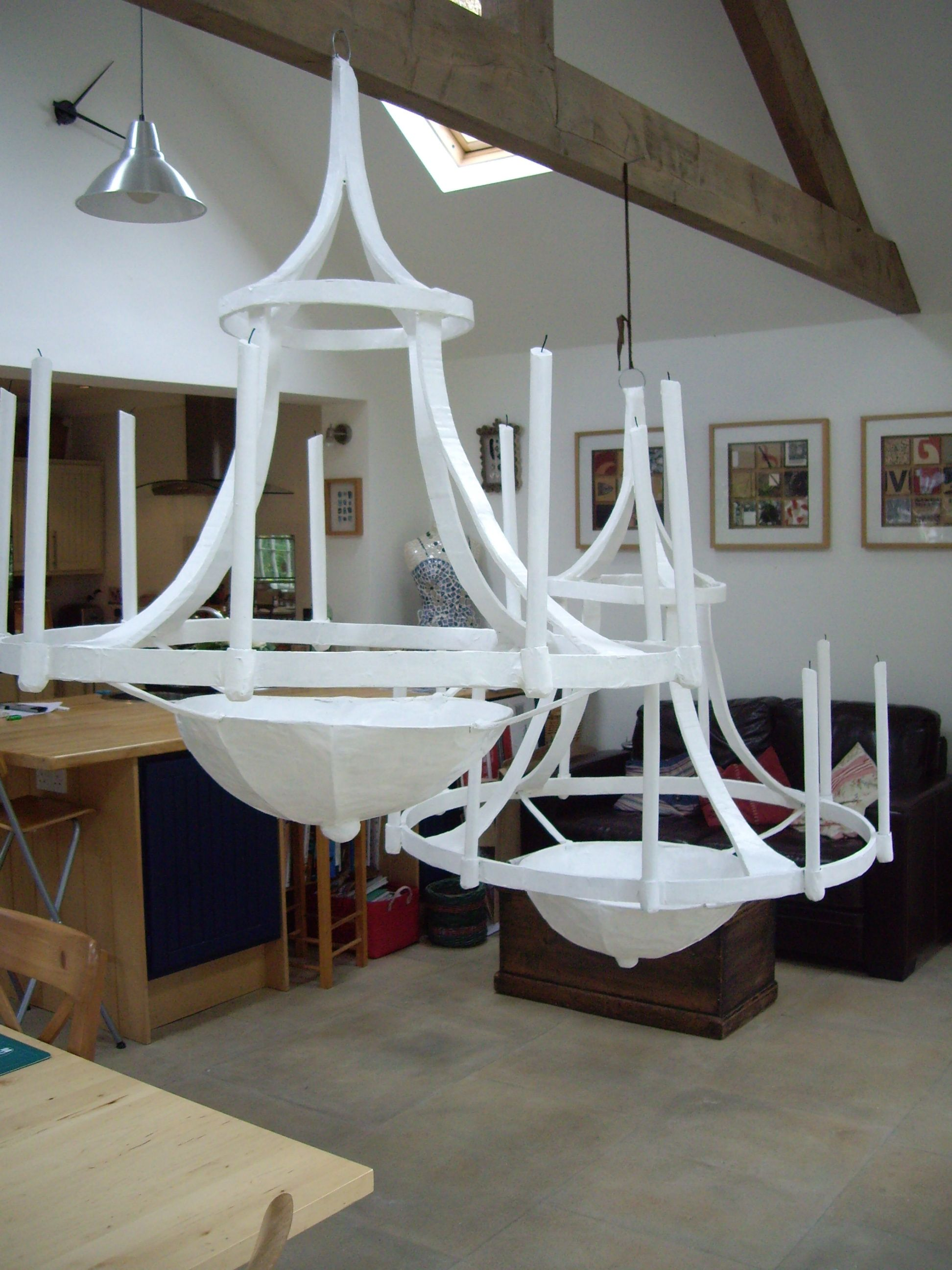 Huge Wire And Paper Mache Chandeliers Commissioned As Props For Polo Event