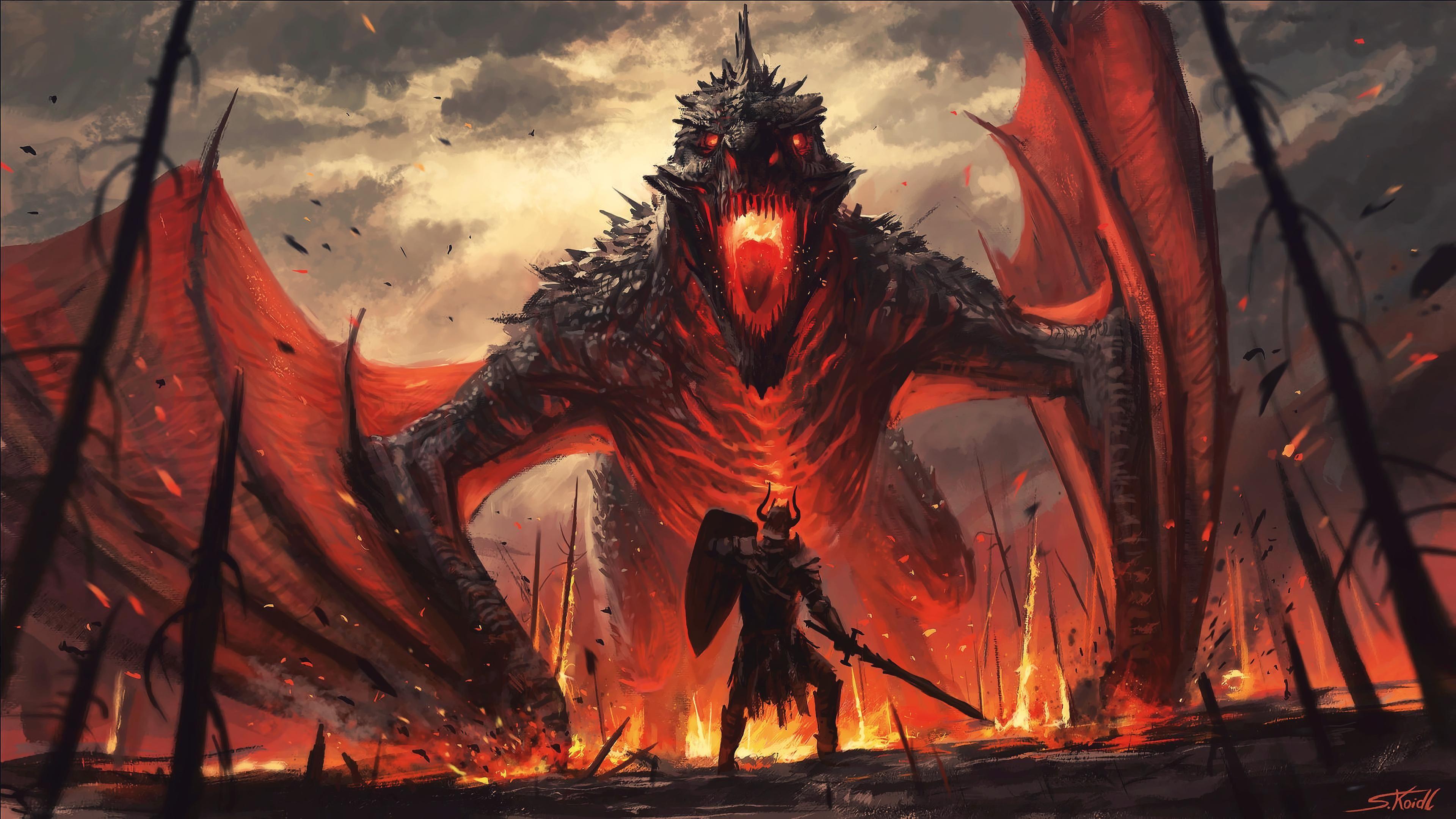 Wyvren Slayer 4k Wallpaper Dragon Artwork Buy Abstract Painting Buy Art Artworks