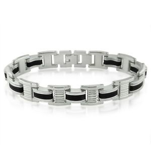 Men's Stainless Steel and Black Rubber Link Bracelet  $12.95  $59.99  (20 Available) End Date: May 182016 07:59 AM GMT-07:00