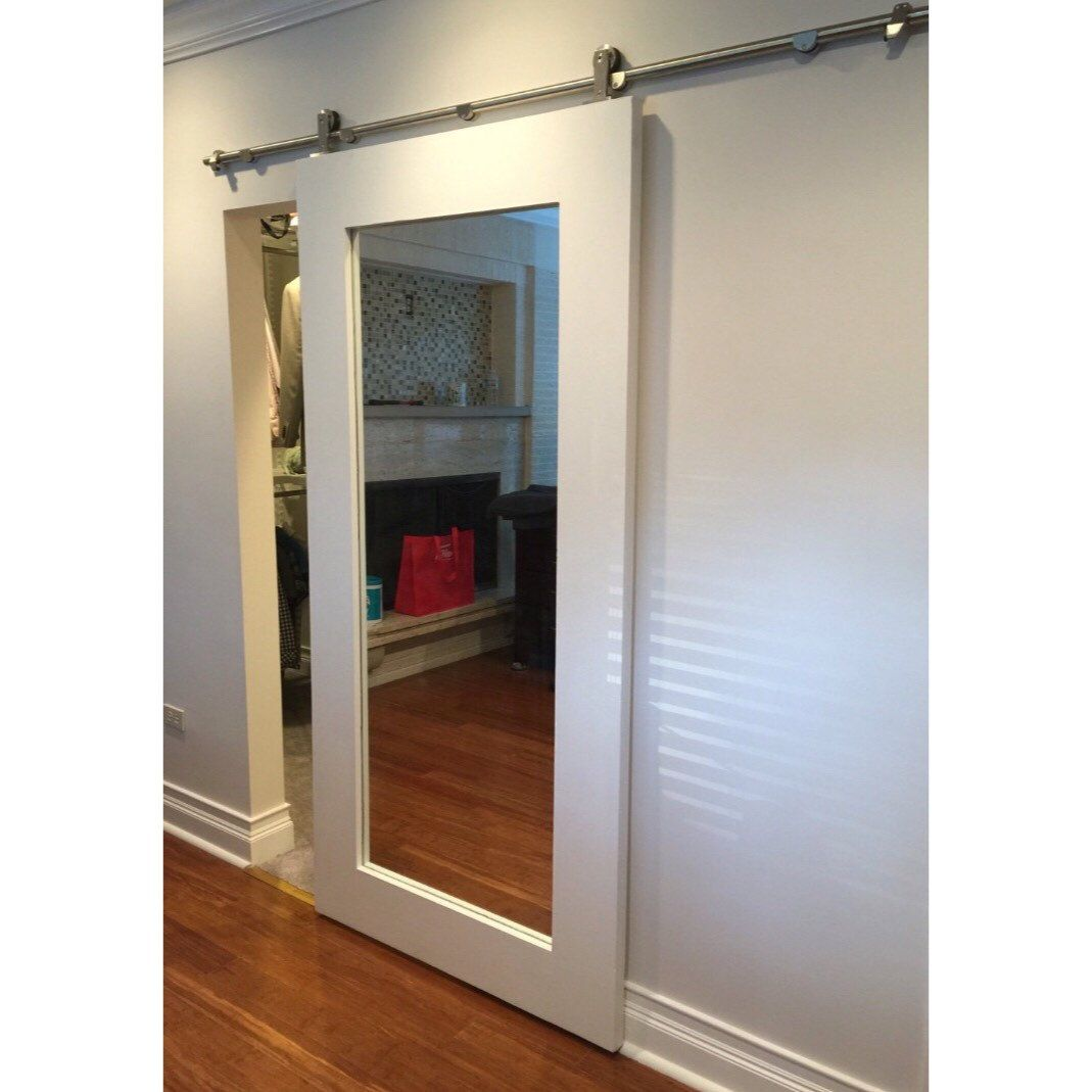 Mirror Framed Sliding Barn Door By Rustic By Rusticluxeboutique Mirror Closet Doors Interior Barn Doors Bathroom Doors