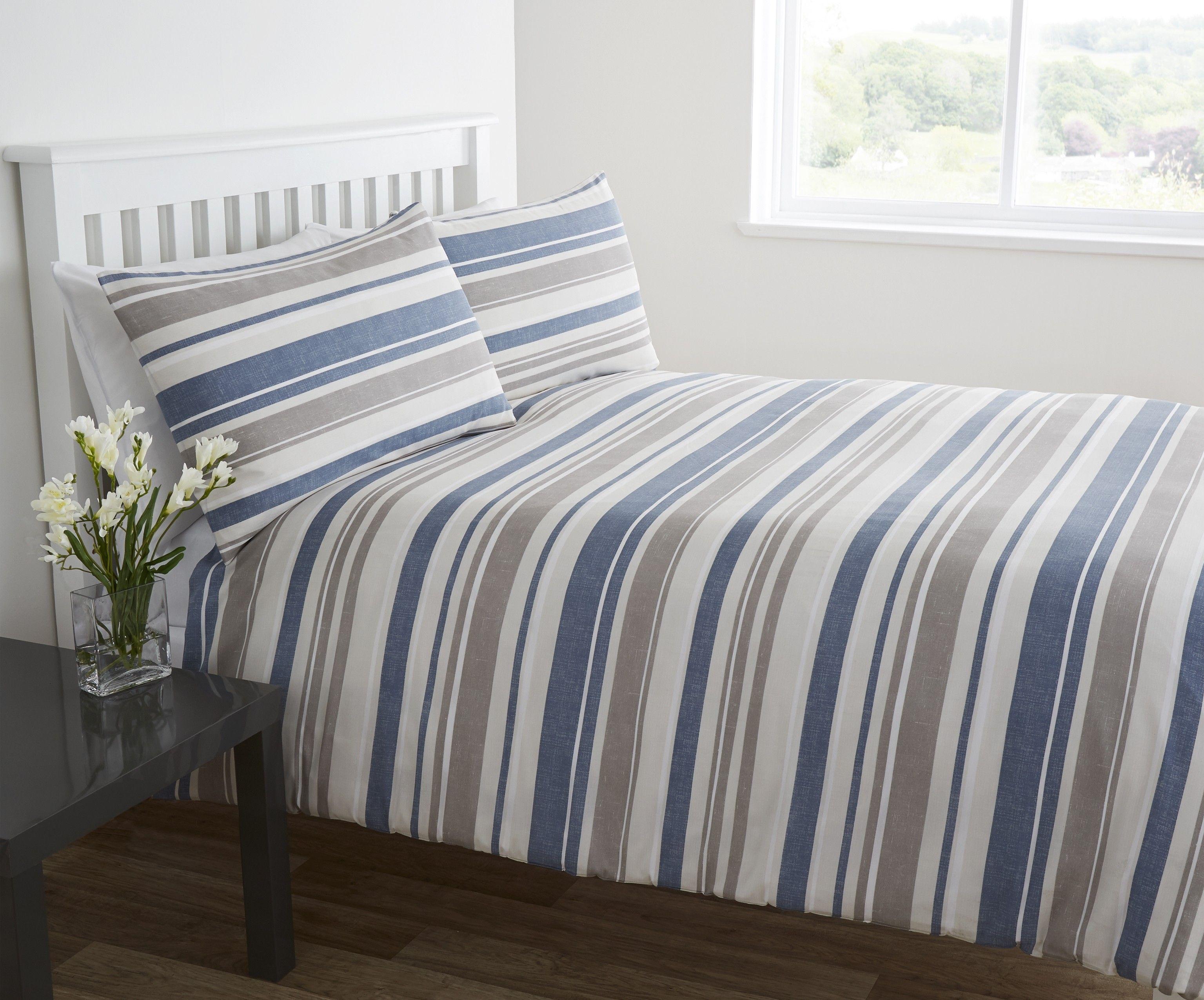 Life From Coloroll Seaport Stripe Duvet Set Blue Brand
