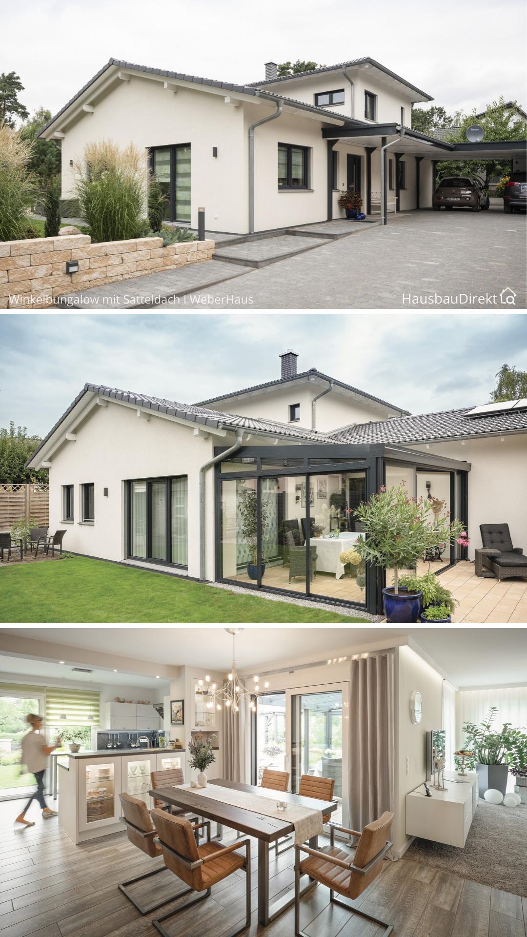 Bungalow mediterran im Landhausstil mit Satteldach Carport & Wintergarten bauen Haus Design Ideen