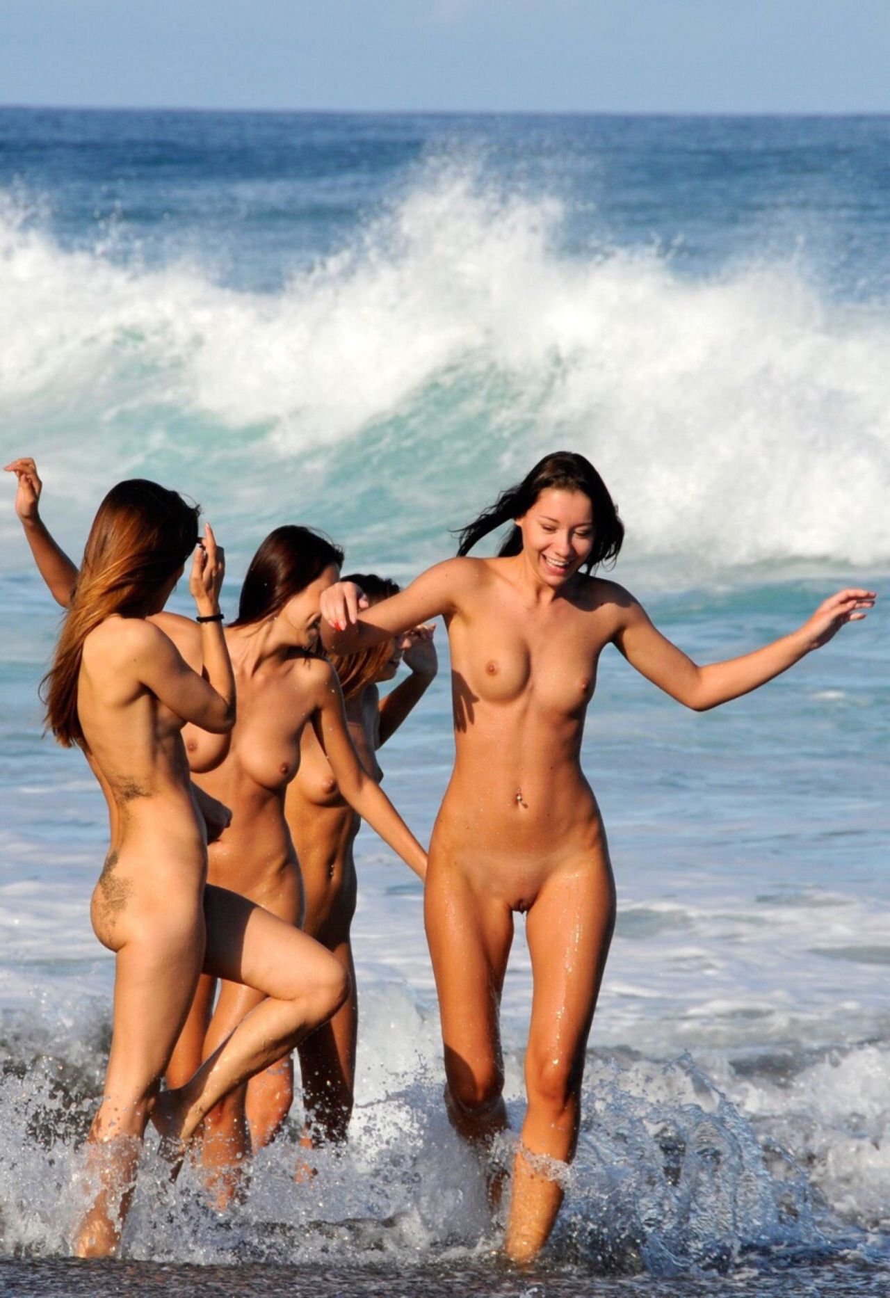 nude women having fun