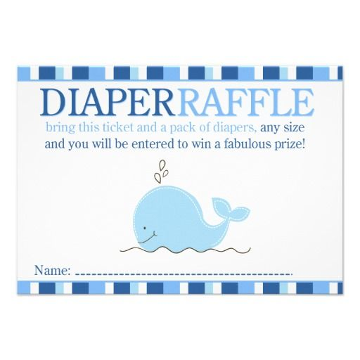 Little Blue Whale Baby Shower Diaper Raffle Card Baby shower