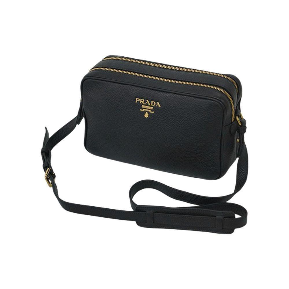 b2b56560bbcb Prada Women's Black Bandoliera Vitello Phenix Leather Crossbody Bag 1BH079