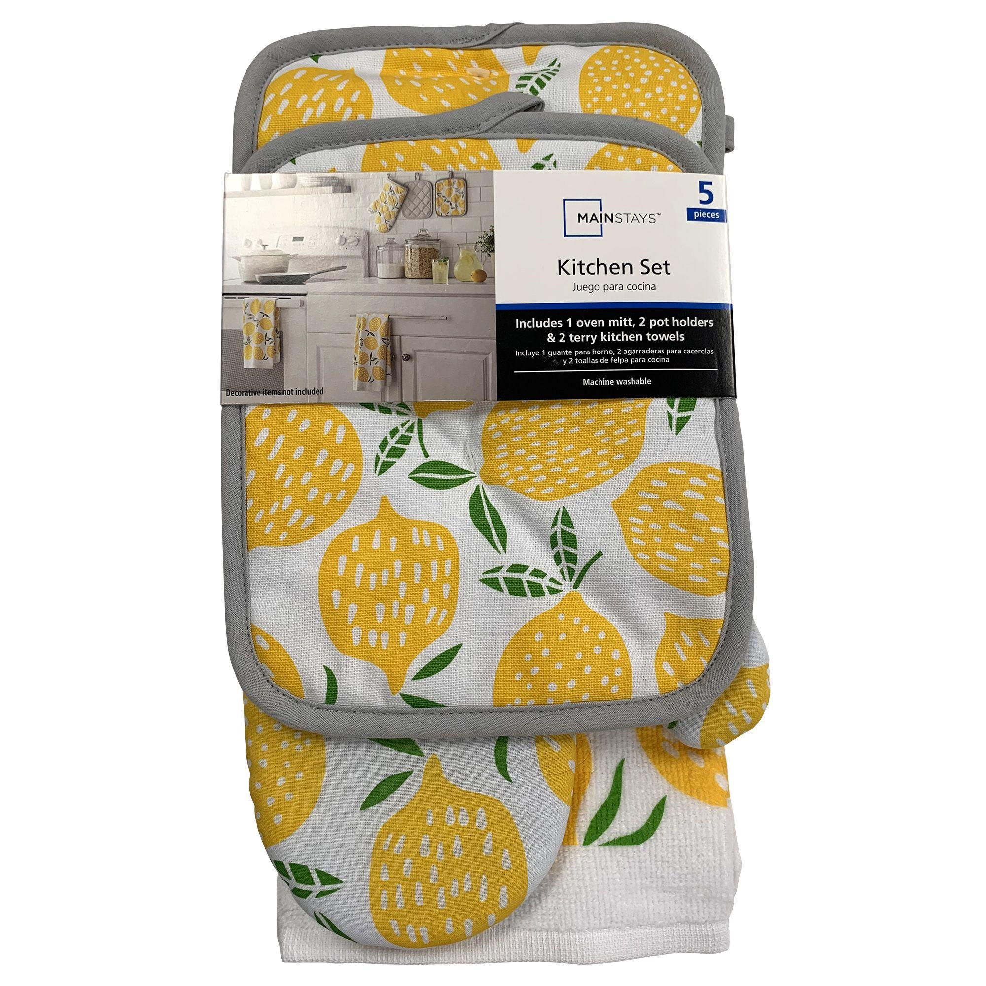 Mainstays 5 Piece Kitchen Textile Set Kitchen Towel Pot Holder Oven Mitt 100 Cotton Lemon Toss Walmart Com Walmart Oven Mitts Kitchen Towels Mainstays