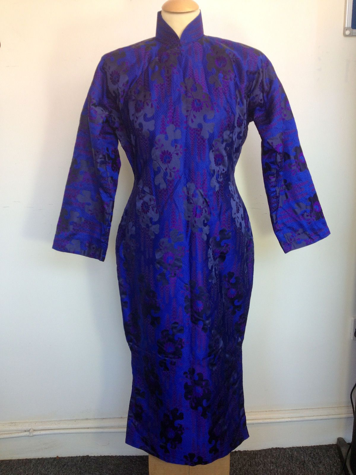 UNIQUE VINTAGE CHINESE DRESS Purple Silk & Fur Lined 1960\'s ...