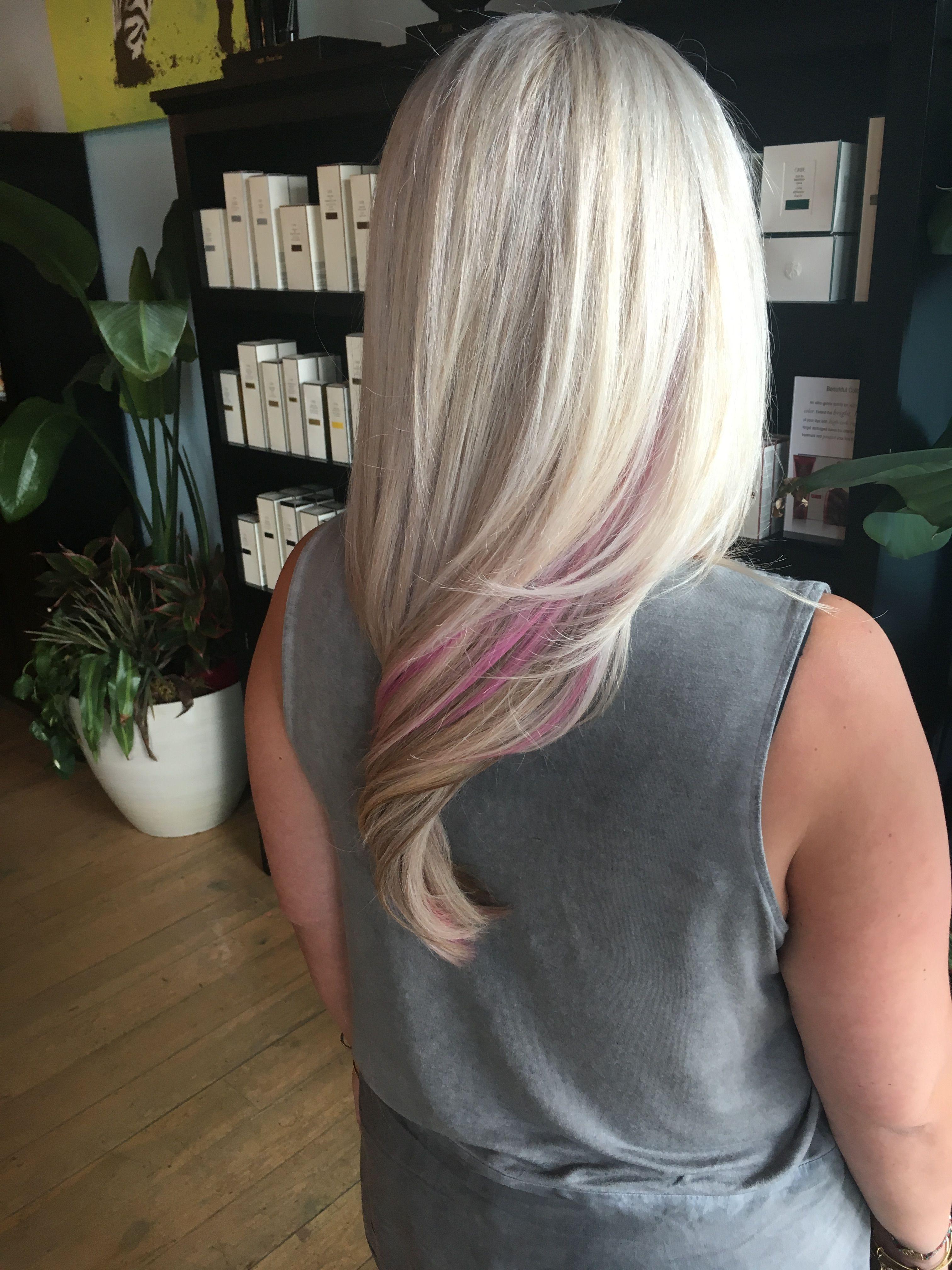 Platinum Blonde With Pink Peekaboo Highlights Pink Blonde Hair Pink Peekaboo Highlights Blonde With Pink