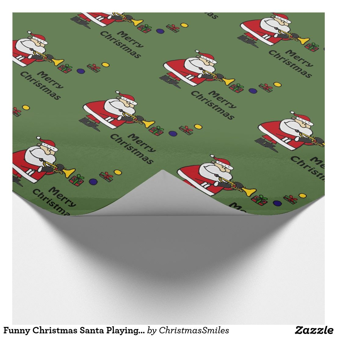 Funny Christmas Santa Playing Trumpet Wrapping Paper | Original Art ...