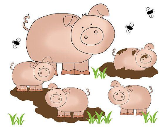 FARM ANIMAL DECAL Pig Wall Art Mural Barnyard Nursery Stickers - Barnyard nursery wall decals