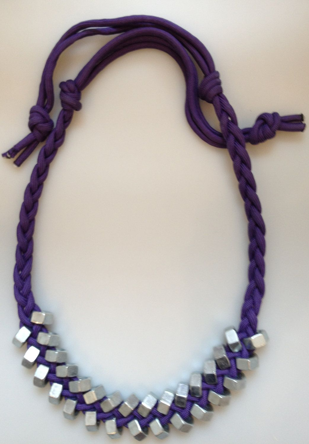 Braided paracord necklace with large silver hex nuts 40 for How to make a paracord lanyard necklace
