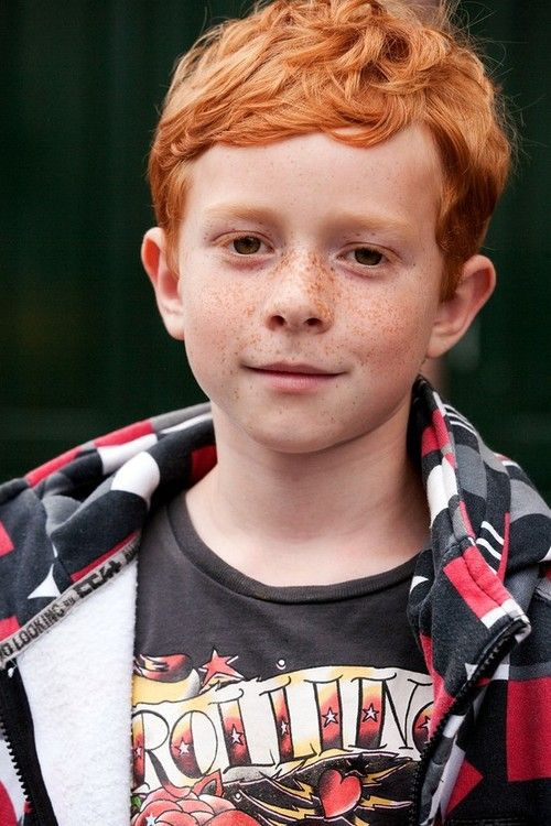 Nice Boy With Cute Freakle And Redhair Smiling To The Photograph