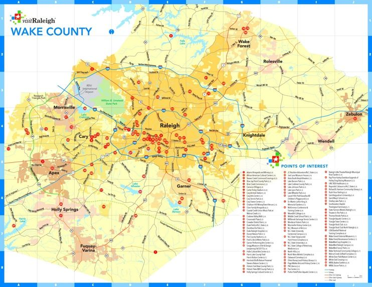 Wake County tourist map Maps Pinterest Tourist map Usa cities