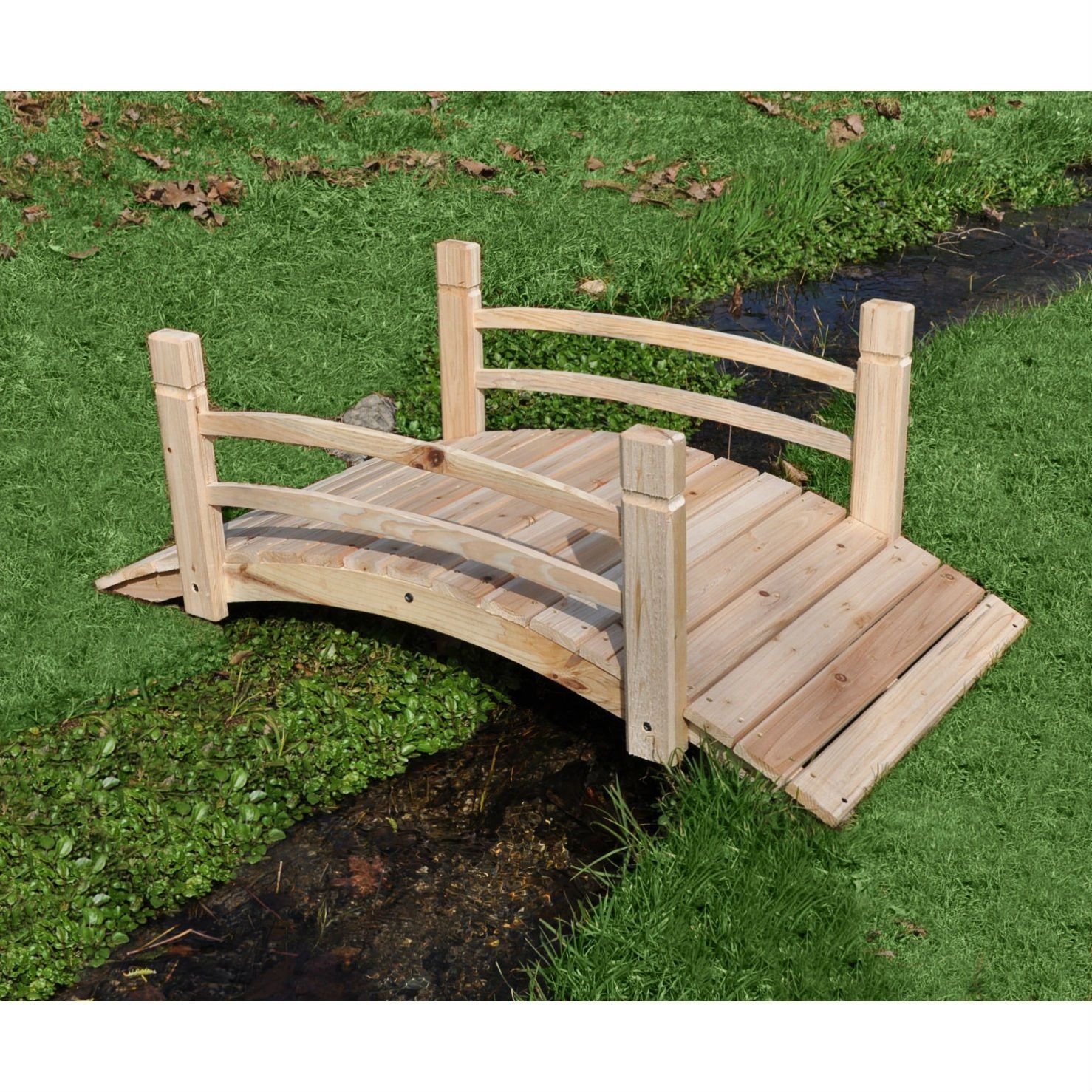 7 Affordable Landscaping Ideas For Under 1 000: 4-Ft Garden Bridge With Rails In Cedar Wood