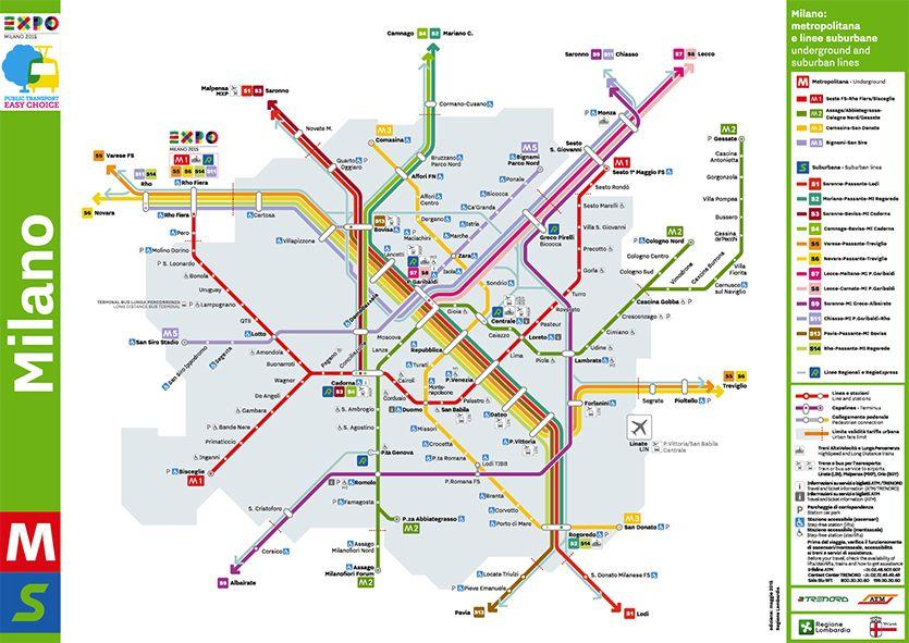 Metro Map of Milano Italy EXPO EXPO2015 Milan Pinterest