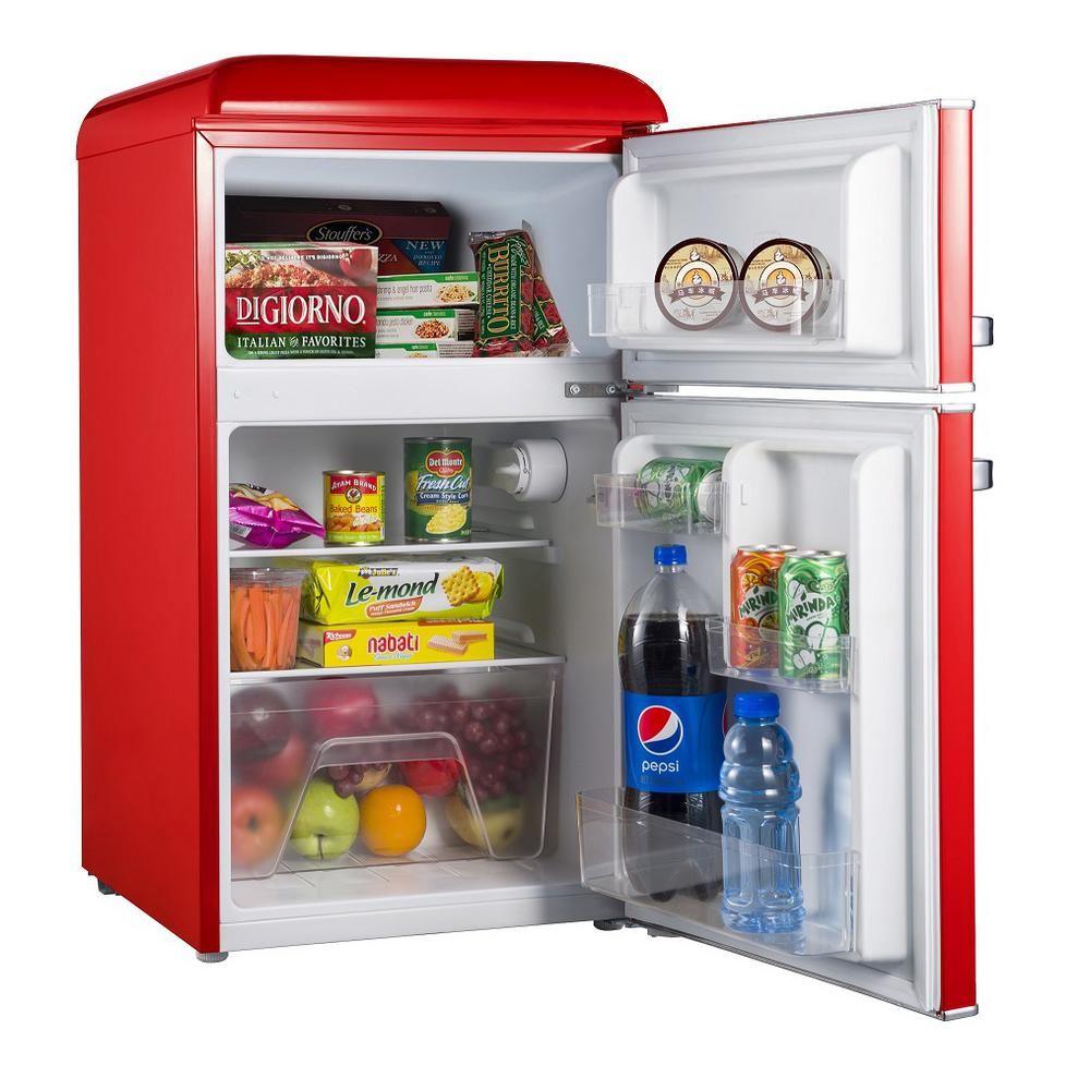 Galanz 31 cu ft retro mini fridge with dual door true