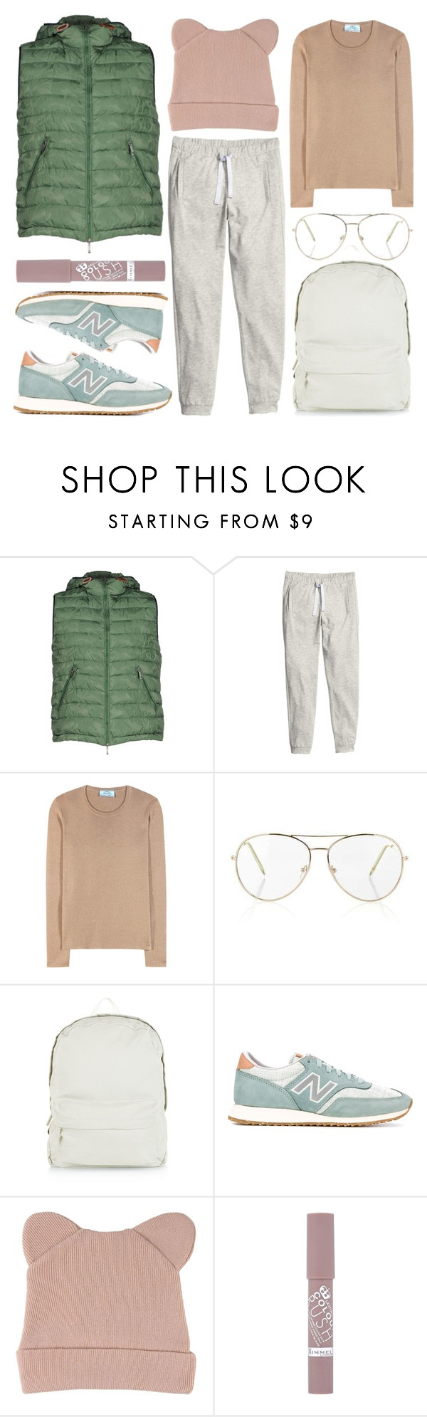 """winter run"" by foundlostme ❤ liked on Polyvore featuring Up To Be, H&M, Prada, Topshop, New Look, New Balance, George J. Love, Rimmel, Winter and jogging"
