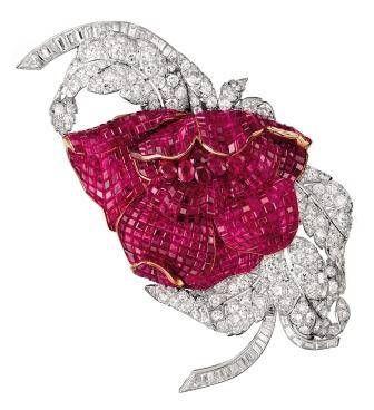 "Peony brooch of diamonds, ""mystery set"" rubies, platinum and gold, 1937  --Patrick Gries/Van Cleef & Arpels"