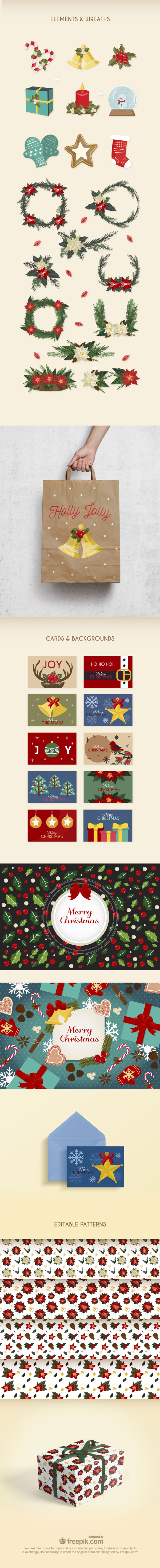 Free Christmas Vector Set (Cards, Backgrounds, Patterns etc.)