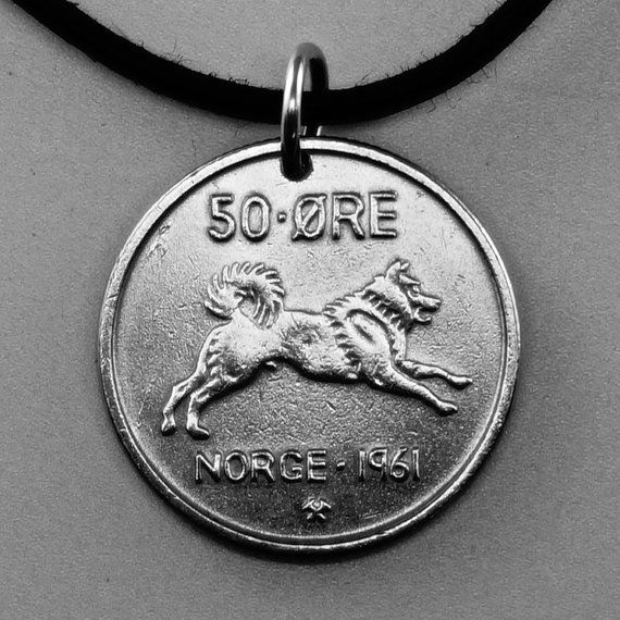 dog necklace coin JEWELRY. Norway coin pendant. ore by PartsForYou, $12.95