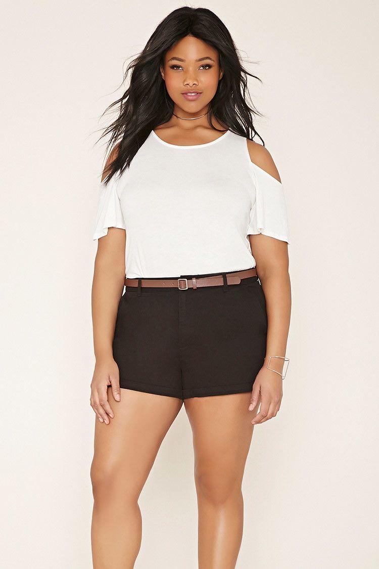 0e0b30d0bce6 Plus Size Belted Shorts