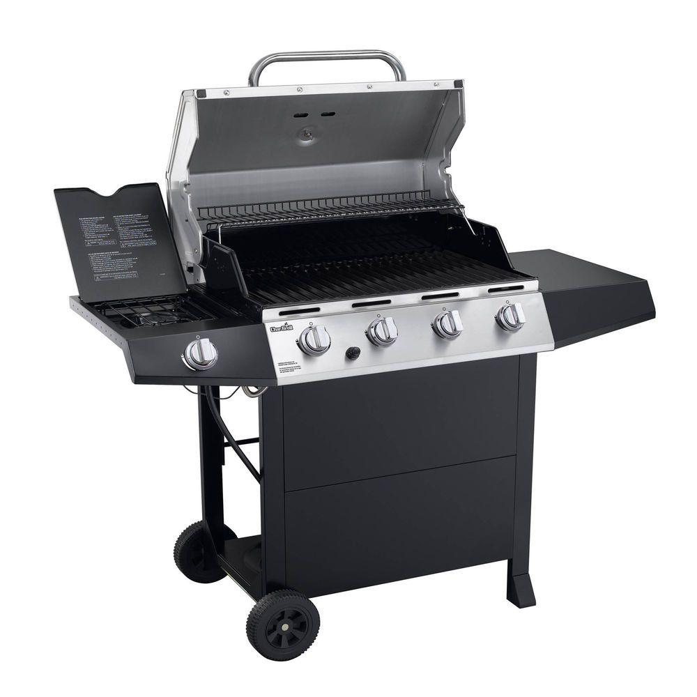 4 Burner Gas Grill Outdoor Bbq Cooking Large Space Side Burner