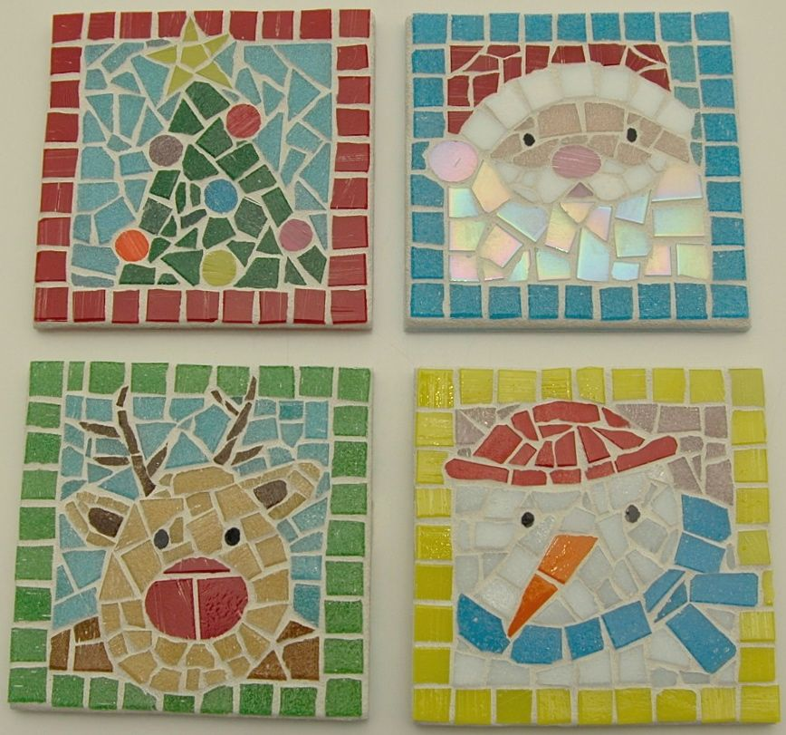 Christmas coasters mosaic tile my mosaic tile projects for Mosaic tiles for craft