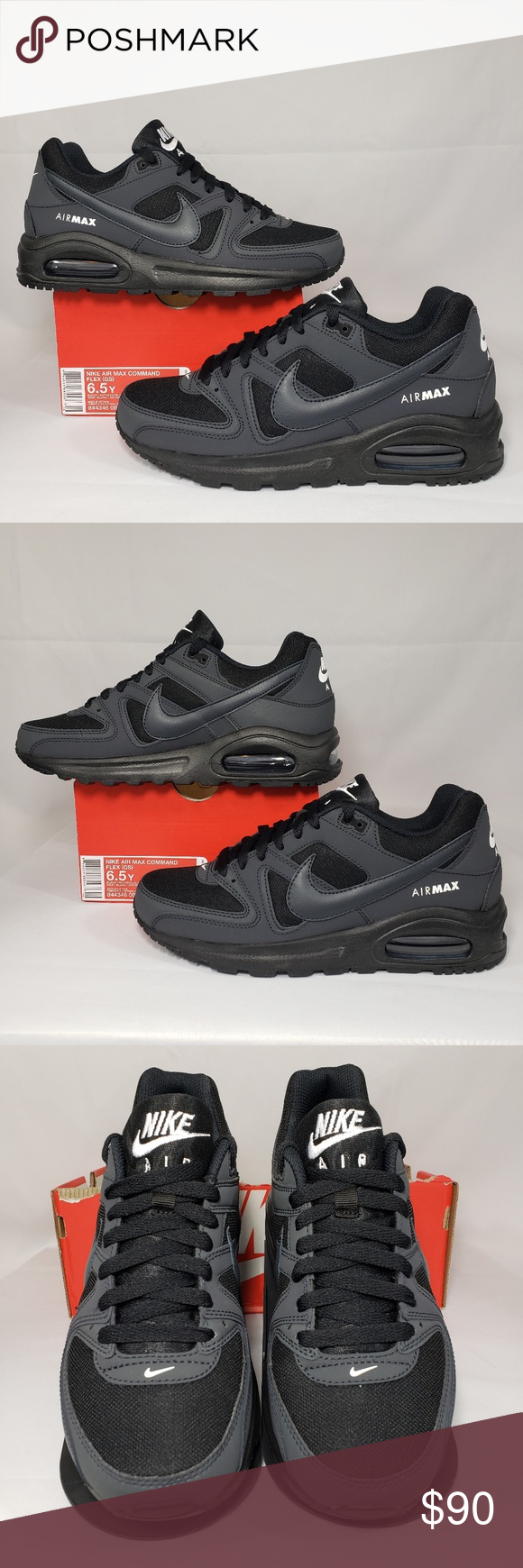 Nike Air Max Command Flex BLACKANTHRACITE WHITE SIZES: 4.5Y