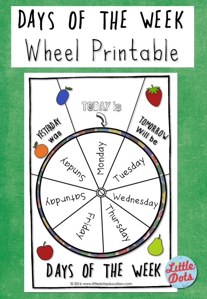 Circle Time Calendar Printables : Free the very hungry caterpillar days of week wheel