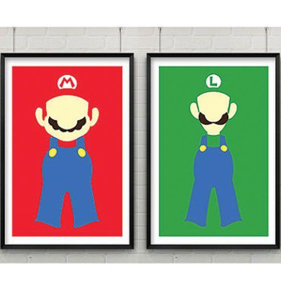 Super Mario Print Set Set of Two Super Mario Minimalist Prints