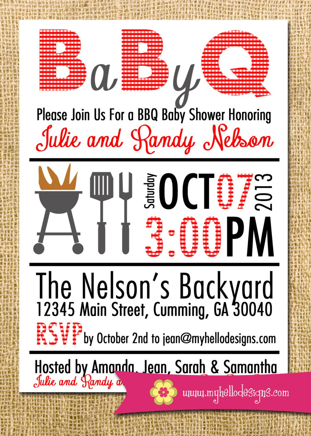 Printable BBQ Invitation Any Color Combination - Backyard BBQ Shower ...