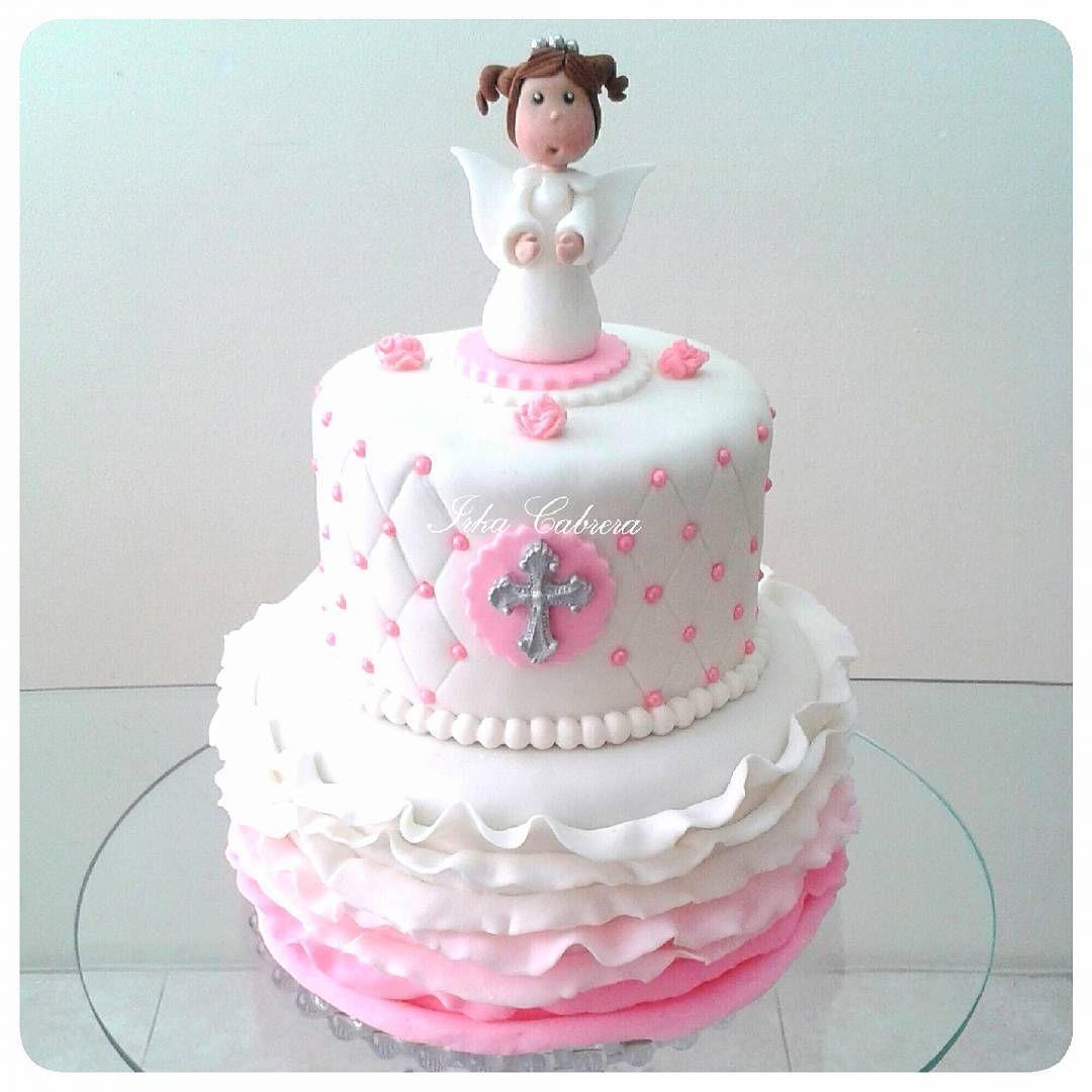 """#torta #cake #bautizo #baptism #christening #angelitos #angels #tortabautizo #baptismcake #christeningcake  #rufflecake #rufflecakes #fondant #fondantcake…"""