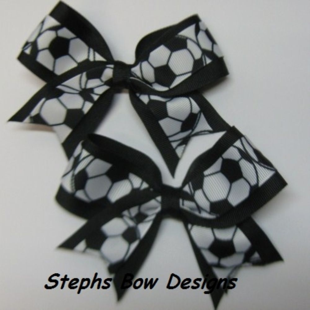Lot 2 Soccer Ball Made to Match team Cheer Pigtail Hair Bows Set Baby Todlr Cute