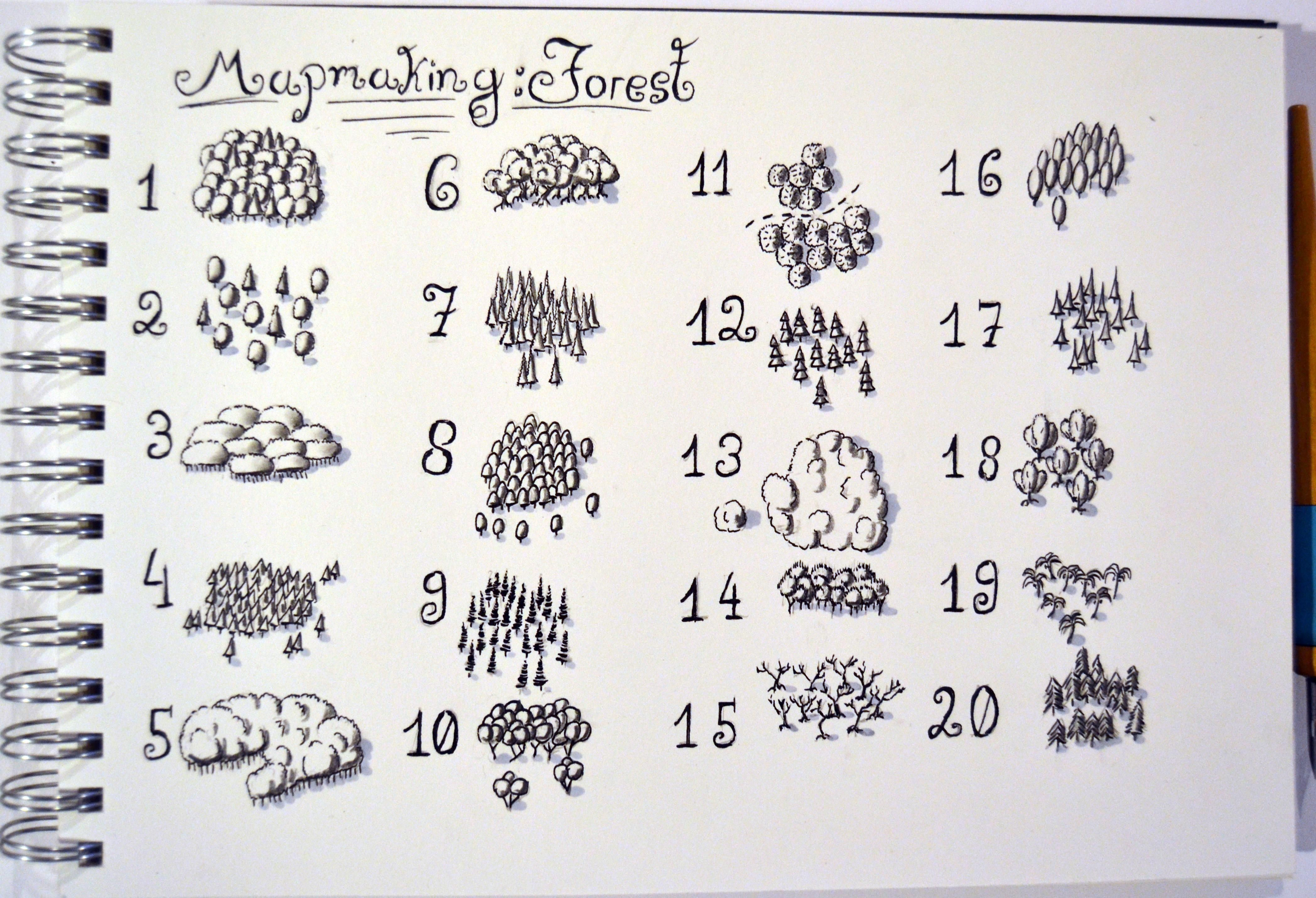 20 ways of drawing a forest mapmaking Fantasy map