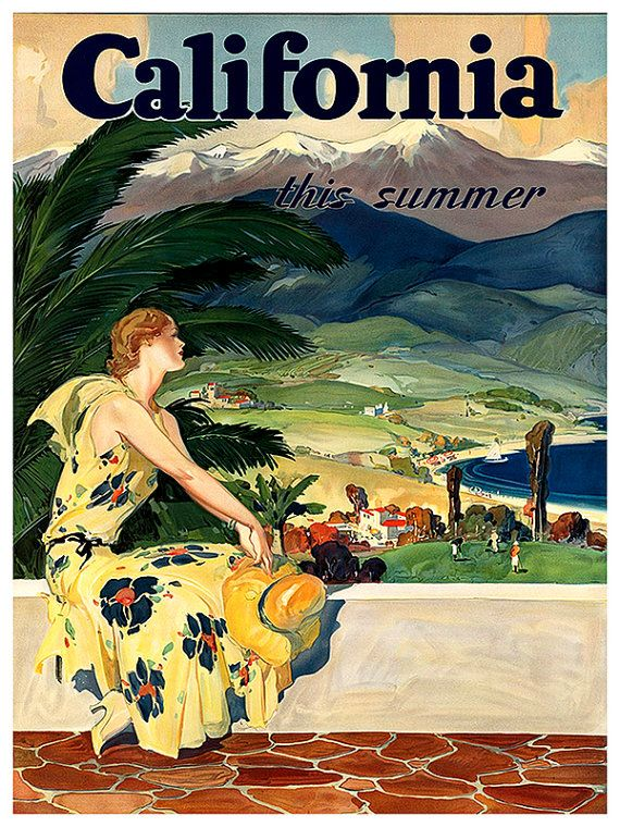 Hermosa Beach 1950 California Vintage Poster Print Retro Travel Seaside Decor