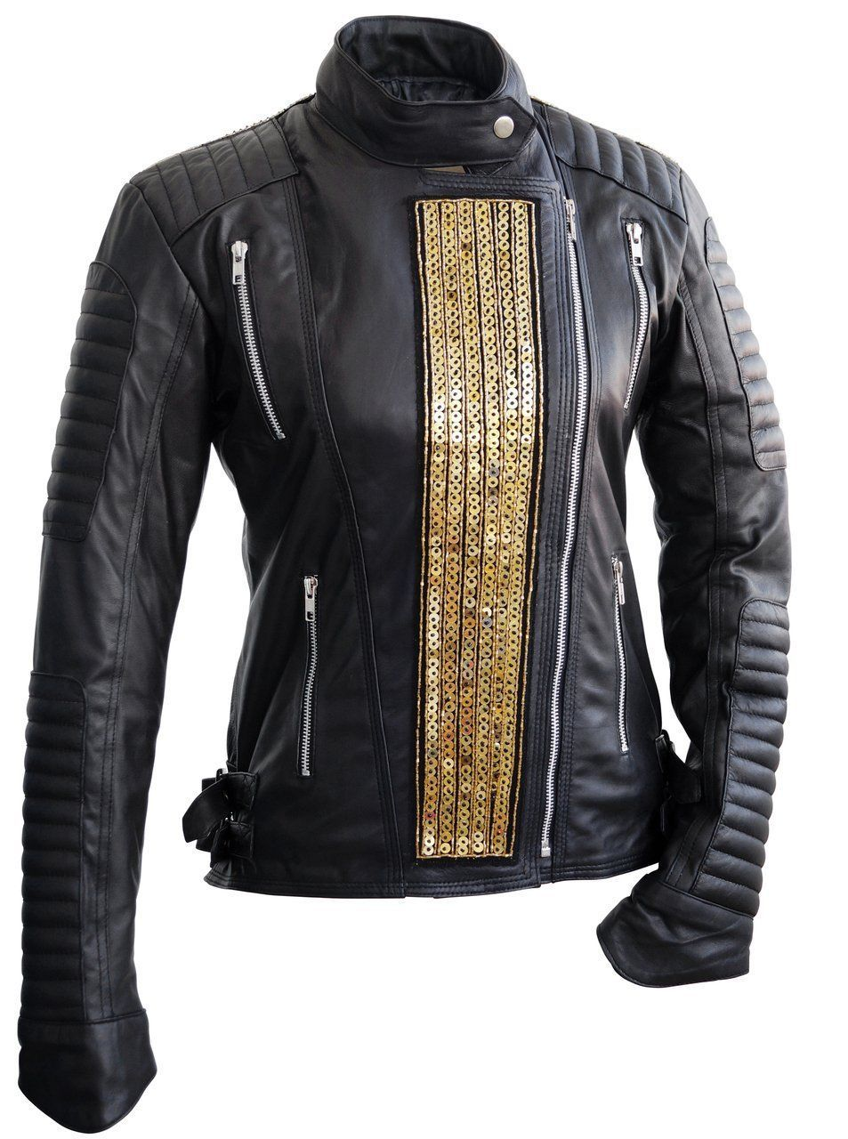 Leather Skin Women Black Genuine Leather Jacket with Gold