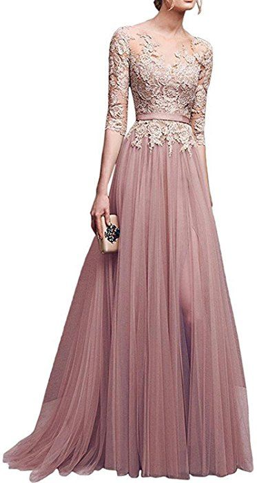 Amazon.com  Women s A-line Evening Dresses Lace Tulle Long Prom Party Gowns   Clothing 9267051cd5