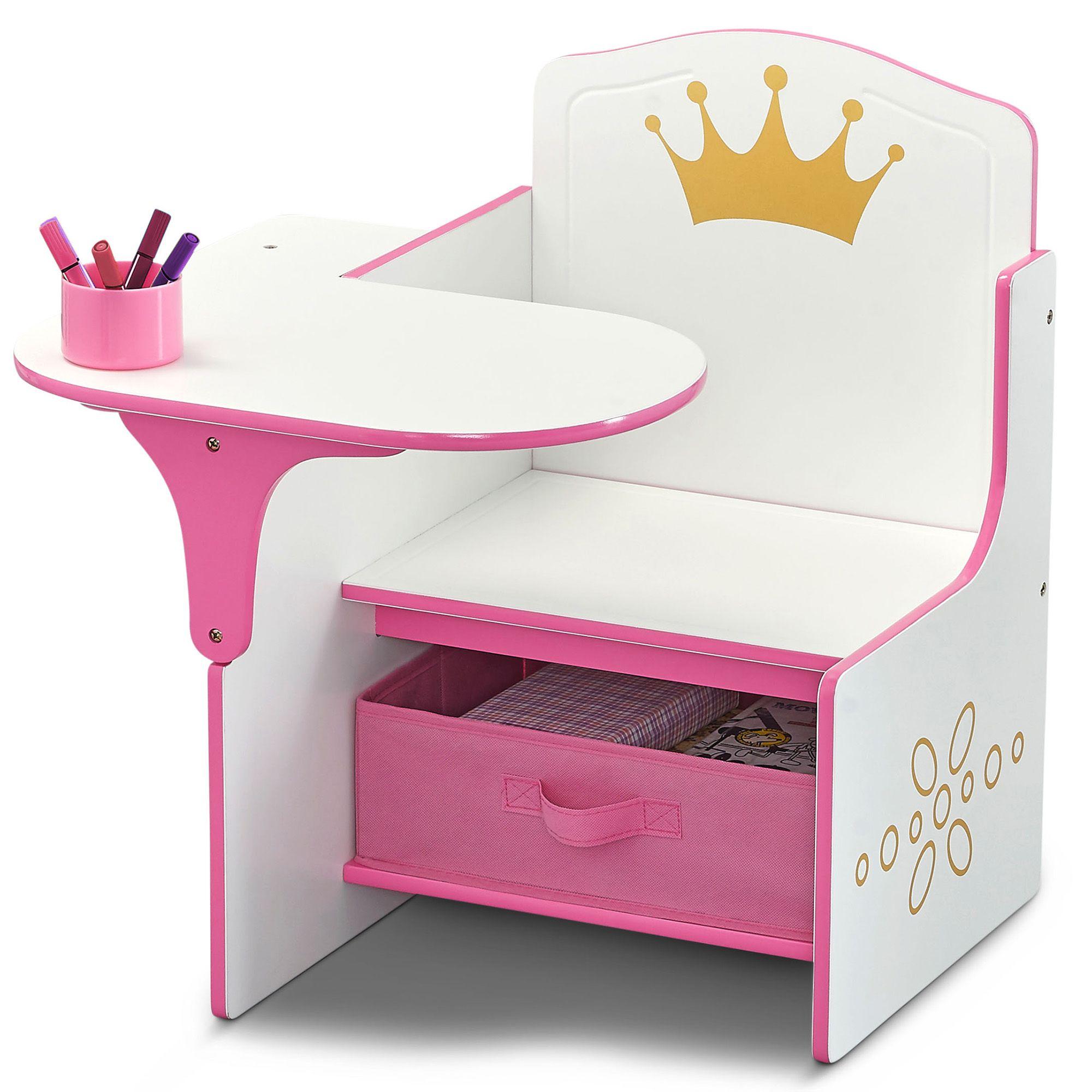 Delta Children Princess Crown Chair Desk With Storage Bin Walmart Com In 2020 Delta Children Storage Bin Desk Storage
