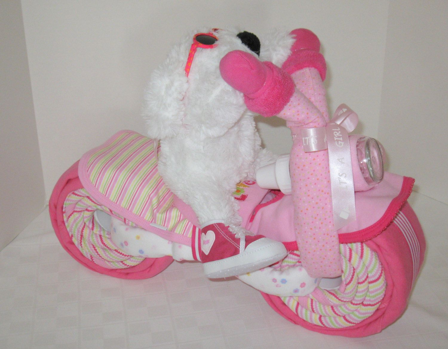 diaper cake motorcycle bike diaper cake baby shower gift centerpiece baby cake baby girl gift doggy
