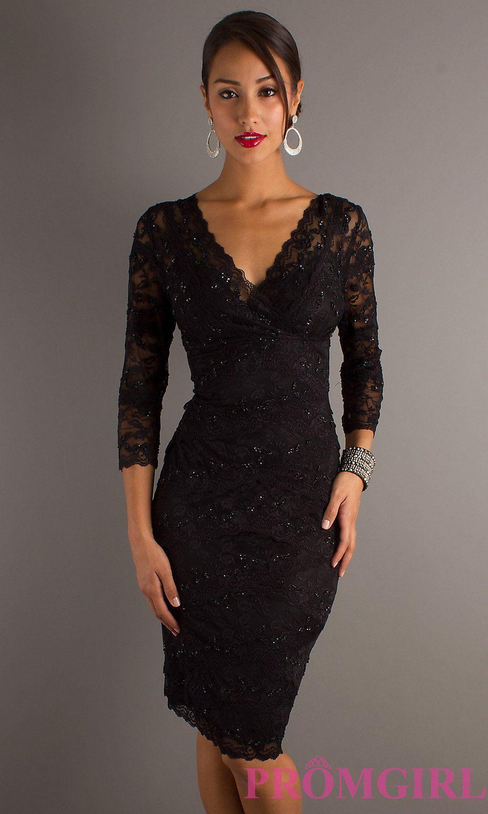 Black Lace Cocktail Dress, Short Black Dress -PromGirl | Formal ...